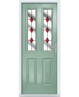 The Cardiff Composite Door in Green (Chartwell) with Red Diamonds