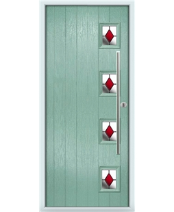 The Norwich Composite Door in Green (Chartwell) with Red Diamonds