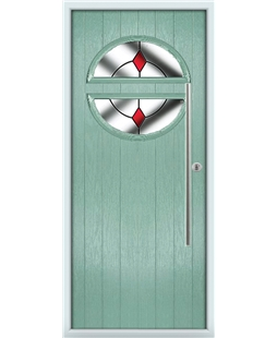 The Xenia Composite Door in Green (Chartwell) with Red Diamonds