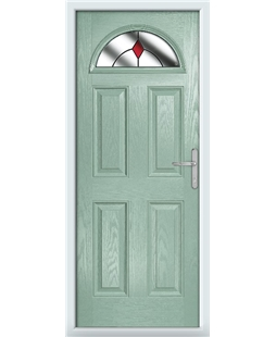The Derby Composite Door in Green (Chartwell) with Red Diamonds