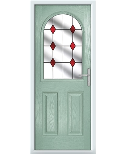 The Edinburgh Composite Door in Green (Chartwell) with Red Diamonds