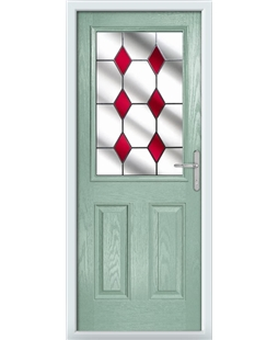 The Farnborough Composite Door in Green (Chartwell) with Red Diamonds