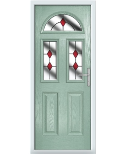 The Glasgow Composite Door in Green (Chartwell) with Red Diamonds