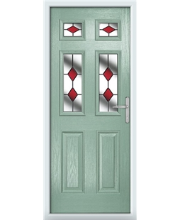 The Oxford Composite Door in Green (Chartwell) with Red Diamonds