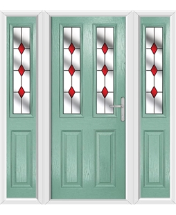 The Cardiff Composite Door in Green (Chartwell) with Red Diamonds and matching Side Panels