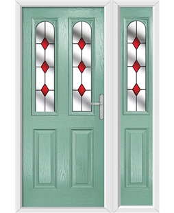 The Aberdeen Composite Door in Green (Chartwell) with Red Diamonds and matching Side Panel