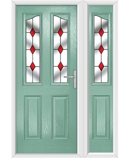 The Birmingham Composite Door in Green (Chartwell) with Red Diamonds and matching Side Panel