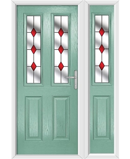 The Cardiff Composite Door in Green (Chartwell) with Red Diamonds and matching Side Panel