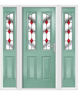 The Birmingham Composite Door in Green (Chartwell) with Red Diamonds and matching Side Panels