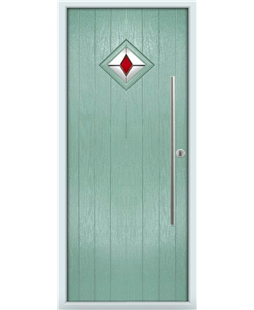 The Wolverhampton Composite Door in Green (Chartwell) with Red Diamond