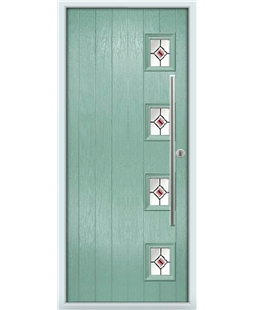 The Norwich Composite Door in Green (Chartwell) with Red Fusion Ellipse