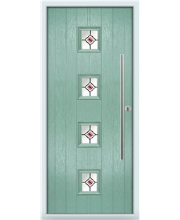 The Leicester Composite Door in Green (Chartwell) with Red Fusion Ellipse
