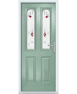 The Aberdeen Composite Door in Green (Chartwell) with Red Murano