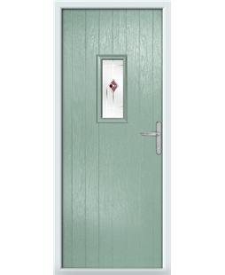 The Taunton Composite Door in Green (Chartwell) with Red Murano