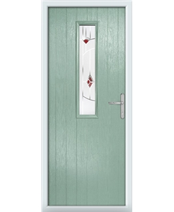 The Sheffield Composite Door in Green (Chartwell) with Red Murano
