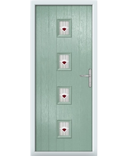 The Uttoxeter Composite Door in Green (Chartwell) with Red Murano