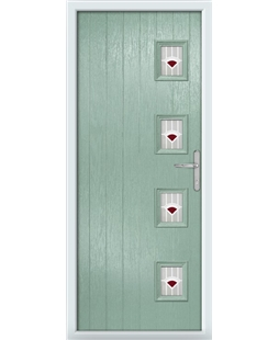 The Preston Composite Door in Green (Chartwell) with Red Murano