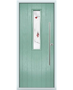 The York Composite Door in Green (Chartwell) with Red Murano
