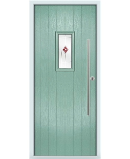 The Zetland Composite Door in Green (Chartwell) with Red Murano