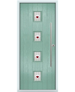 The Leicester Composite Door in Green (Chartwell) with Red Murano