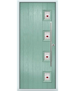 The Norwich Composite Door in Green (Chartwell) with Red Murano