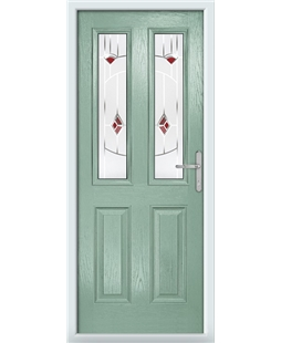The Cardiff Composite Door in Green (Chartwell) with Red Murano