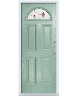 The Derby Composite Door in Green (Chartwell) with Red Murano