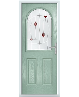 The Edinburgh Composite Door in Green (Chartwell) with Red Murano