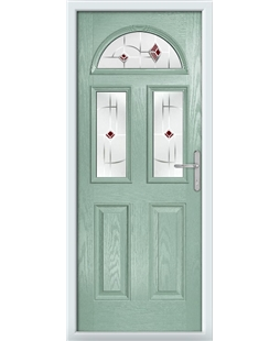 The Glasgow Composite Door in Green (Chartwell) with Red Murano