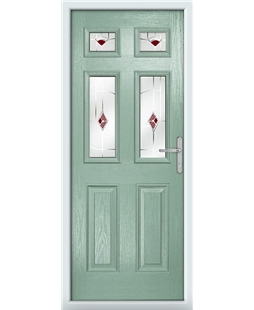 The Oxford Composite Door in Green (Chartwell) with Red Murano