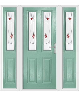 The Cardiff Composite Door in Green (Chartwell) with Red Murano and matching Side Panels