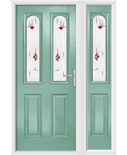 The Aberdeen Composite Door in Green (Chartwell) with Red Murano and matching Side Panel