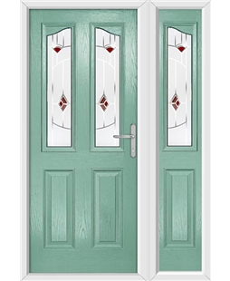 The Birmingham Composite Door in Green (Chartwell) with Red Murano and matching Side Panel