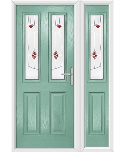 The Cardiff Composite Door in Green (Chartwell) with Red Murano and matching Side Panel