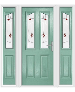 The Birmingham Composite Door in Green (Chartwell) with Red Murano and matching Side Panels
