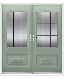 Portland French Rockdoor in Chartwell Green with Square Lead