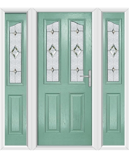 The Birmingham Composite Door in Green (Chartwell) with Crystal Diamond and matching Side Panels