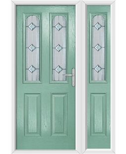 The Aberdeen Composite Door in Green (Chartwell) with Simplicity and matching Side Panel
