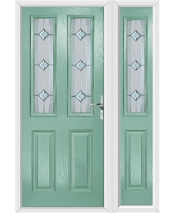 The Cardiff Composite Door in Green (Chartwell) with Simplicity and matching Side Panel