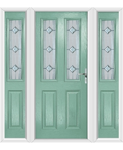 The Cardiff Composite Door in Green (Chartwell) with Simplicity and matching Side Panels