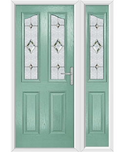 The Birmingham Composite Door in Green (Chartwell) with Crystal Diamond and matching Side Panel