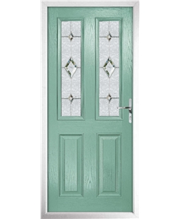 The Cardiff Composite Door in Green (Chartwell) with Crystal Diamonds