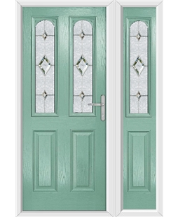 The Aberdeen Composite Door in Green (Chartwell) with Crystal Diamond and matching Side Panel