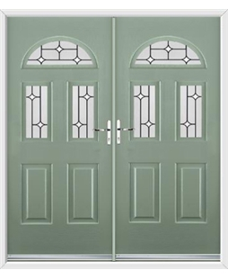 Tennessee French Rockdoor in Chartwell Green with White Diamonds