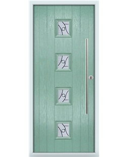 The Leicester Composite Door in Green (Chartwell) with Zinc art Abstract