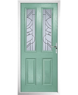 The Cardiff Composite Door in Green (Chartwell) with Zinc Art Abstract