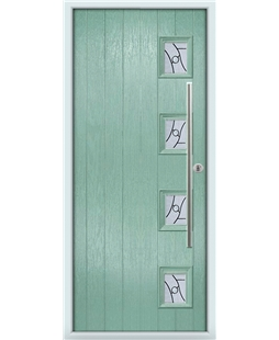 The Norwich Composite Door in Green (Chartwell) with Zinc Art Abstract