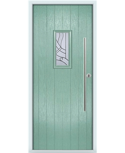 The Zetland Composite Door in Green (Chartwell) with Zinc Art Abstract