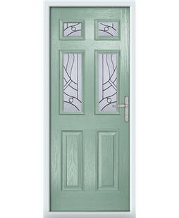 The Oxford Composite Door in Green (Chartwell) with Zinc Art Abstract