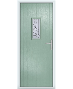 The Taunton Composite Door in Green (Chartwell) with Zinc Art Abstract